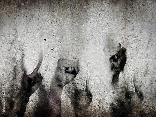 Photo 古いコンクリート壁に描いた抽象的な手の落書き