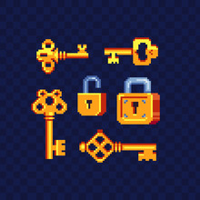 Key And Lock Pixel Art Icons Set. Design For Logo, Stickers, Web,  And Mobile App. Isolated Vector Illustration. 8-bit Sprite.