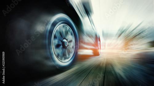 Fotomural Speeding car with green power