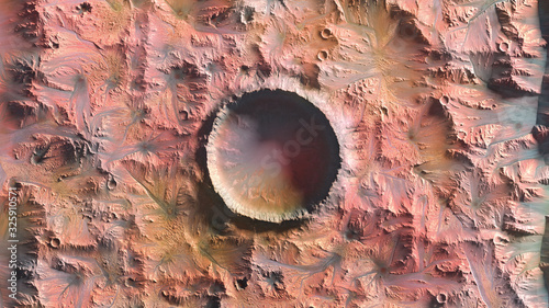Mars Planet, Crater top view 3d illustration Canvas Print