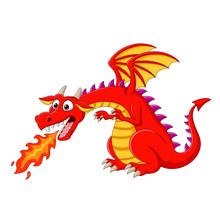 Cartoon Red Dragon Spitting Fire