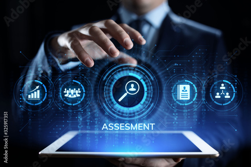 Assessment evaluation business analysis concept on screen. Wallpaper Mural