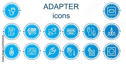 Fotografiet Editable 14 adapter icons for web and mobile