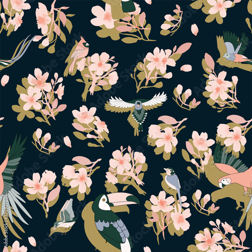 Fototapety, obrazy: Seamless pattern with pink sakura flowers and tropical birds, parrots. On a black background. Contrast background for fabric.