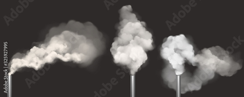 Foto Chimneys with smoke, pipes with steam set