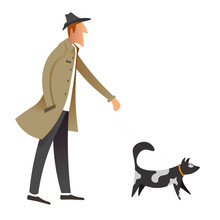 Old Fashioned Gentleman Walking Dog, Owner And Pet