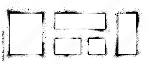 Obraz Spray Paint Vector Elements isolated on White Background. Set of  frame and black round ink stains, Lines and Drips Black ink splatters, Ink blots set, Street style. - fototapety do salonu