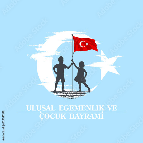 Fotografia April 23 Turkish national ataturk festival banner cocuk baryrami 23 nisan, tr: A