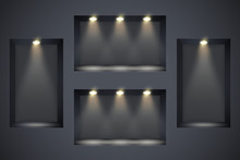 Wall With Niches And Spotlight...