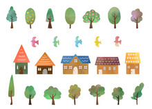 Set Of Trees, Houses And Birds, Watercolor Texture