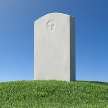Gray Blank Gravestone On Green Grass Hill Under Blue Sky