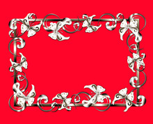 Creative Composition With A Picture Frame, Decorated With Patterned Curls And Butterflies. Imitation Of Silver On A Red Background.