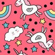 Seamless vector pattern with cartoon unicorns and rainbows. Background for baby's products.