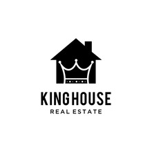Simple House Logo Illustration With A King's Crown Inside.