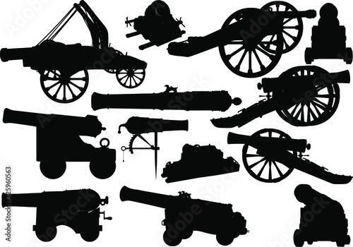 Set of black silhouettes of varied medieval artillery siege of fortress and sea Tapéta, Fotótapéta