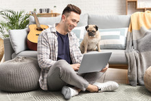 Handsome Man With Laptop And C...