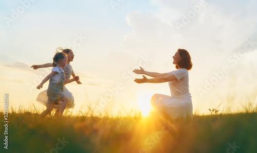 Obraz Happy family on summer walk! - fototapety do salonu
