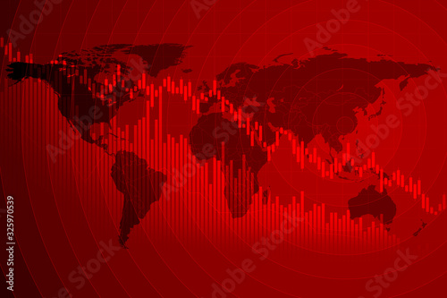 Photographie 世界地図と経済・株価のグラフィックイメージ
