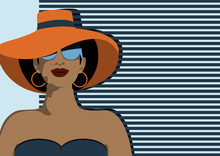 Portrait Of Young Beautiful Woman With Modern Green Sunglasses Wearing Big Orange Hat For Sun Protection, Vacation Traveling Concept