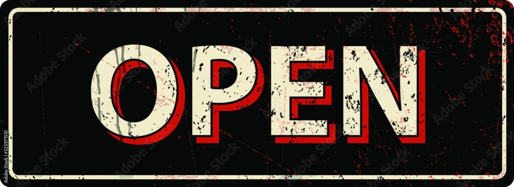 Fototapeta open - Vector illustration - vintage rusty metal sign