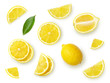 set of citrus fruits isolated on white background