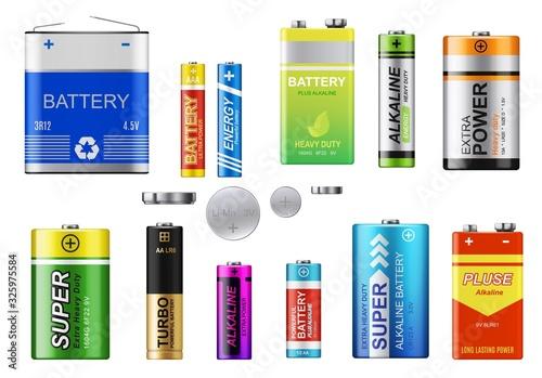 Batteries, accumulators and button cells vector set Wallpaper Mural