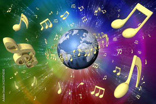 Fotografie, Obraz Pentagramma musicale ruota attorno al mondo