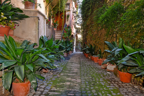 Anagni, Italy, A narrow street between the old stone houses of a medieval village Wallpaper Mural