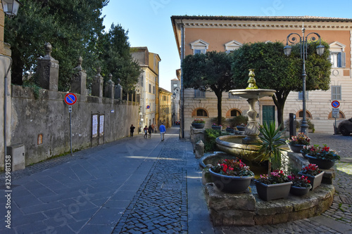 Anagni, Italy. The square of a medieval town. Canvas Print