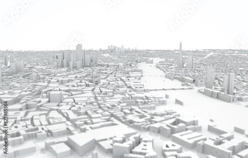 Fotomural London city map 3D Rendering. Aerial satellite view.