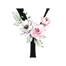 Letter Y, Floral Monogram, Ini...