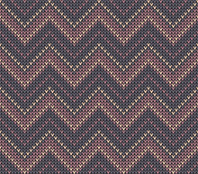Knitted Pattern Seamless Texture With Zigzag / Chevron Lines In Grey, Lavender Pink, And Soft Apricot Orange For Winter Scarf, Top, Hat, Mittens, Or Other Modern Holiday Textile Design.