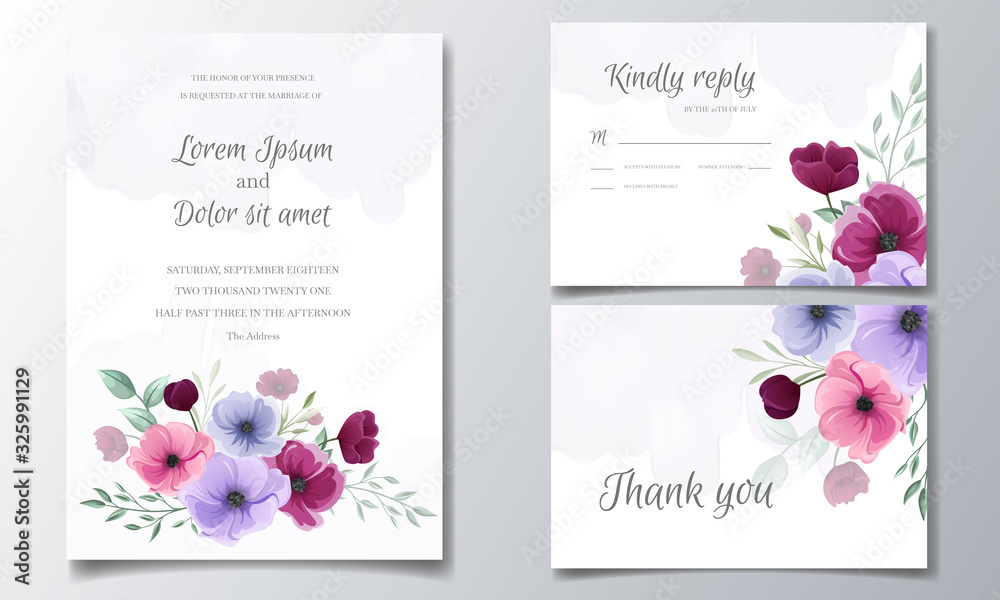 Fototapeta Colorful hand drawn floral wedding invitation card