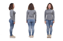 Woman With Jeans Front, Back A...