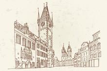 Vector Sketch Of Prague Orloj - Medieval Astronomical Clock Mounted On Old Town Hall, Prague, Czech Republic, Europe.