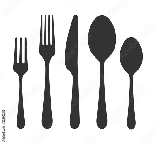 Valokuva Vector cutlery set. Fork, knife. Flat style.