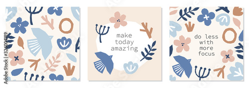 Every day motivation as creative set of trendy abstract collage background with minimal organic shapes