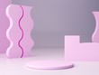Abstract minimal pink scene with geometrical forms. Cylinder podiums and stairs in pastel colors. Abstract background. Scene to show cosmetic podructs. Showcase, shopfront, display case. 3d render.