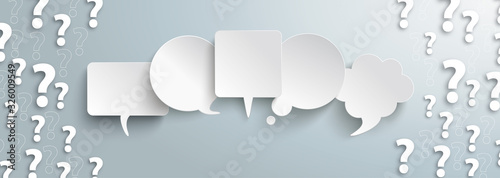 Fotografiet White Question Marks Speech Bubbles Gray Centre Header