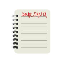 Dear Santa Christmas Notepad Letter. Vector Illustration Isolated On White Background
