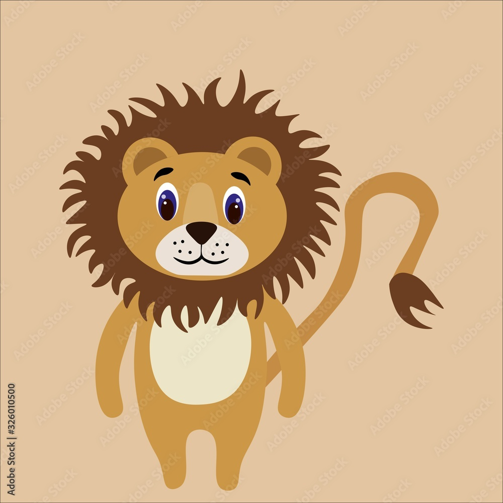 Fototapeta Beautiful lion isolated on background. Flat style. Stock vector illustration for decor and design, children's books, coloring books, cards, posters, banners, fabrics, stickers, textiles and more.