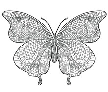 Butterfly Coloring Page For Children And Adults. Beautiful Drawings With Patterns And Small Details. Hand Drawing Vector Illustration In Black Outline On A White Background