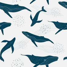 Monochrome Seamless Pattern Of Blue Whales With Dots And Waves In Light Grey Background. Kids Cloths, Background, Pattern, Design, Fabric.