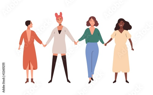 Fototapeta Four happy diverse young woman smiling holding hands vector flat illustration. Group of girl union of feminists standing together isolated on white background. Female friendship and sisterhood obraz