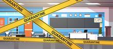 Epidemic MERS-CoV Quarantine Caution On Yellow Warning Tape Modern School Classroom Interior Coronavirus Infection Wuhan 2019-nCoV Pandemic Health Risk Concept Horizontal Vector Illustration