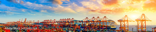 Industrial container freight port at beautiful sunset in Shanghai,China.