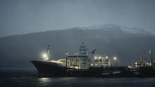 Ferry Docked With Snowy Mounta...