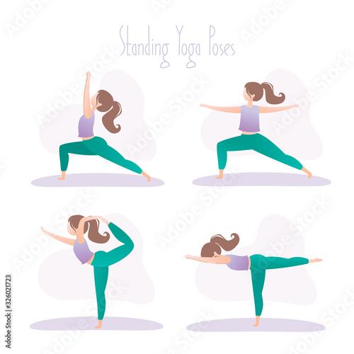 Set of four standing yoga poses, asana in hatha yoga Canvas Print