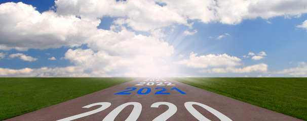 Empty asphalt road and New year 2020, 2021, 20222, 2023 concept. Concept for success and passing time.