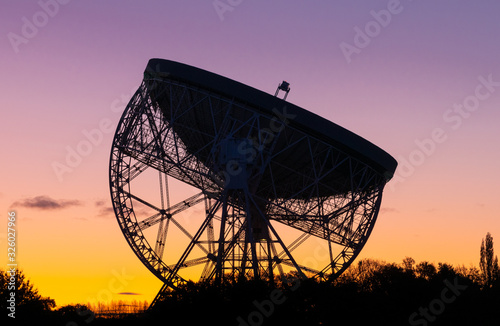 Photo Sunrise at the Lovell Telescope at Jodrell Bank in the Cheshire landscape - a UNESCO World Heritage Site